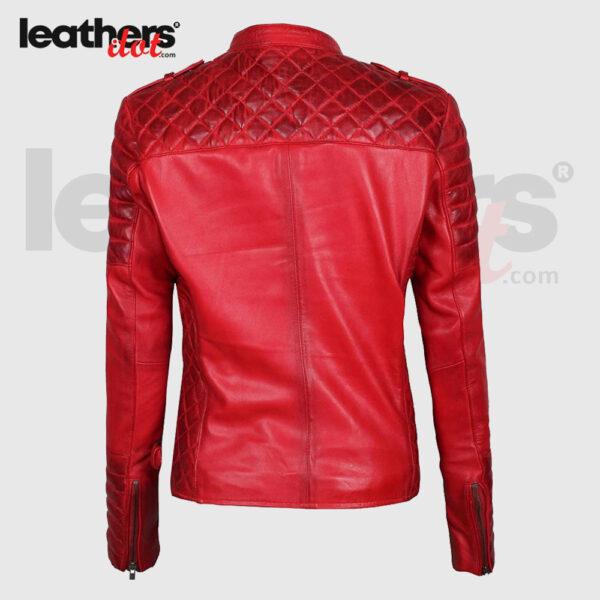 Premium Lambskin Red Leather Bomber Biker Jacket for Women
