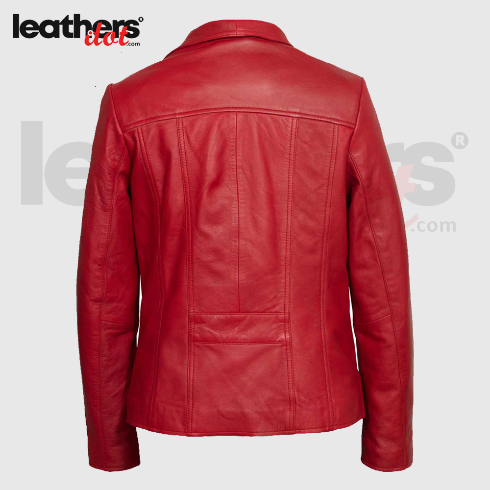 Premium Quality Red Real Leather Bomber Jacket with Shearling