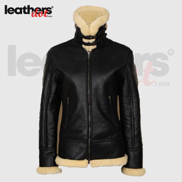 Shearling Lapel Collar Women Black Sheepskin B3 Fashion Jacket