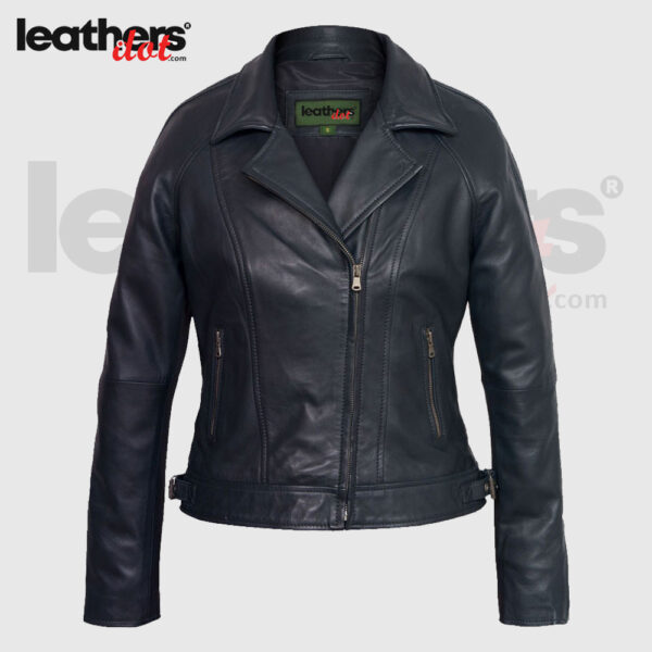 Women Fashion Cowhide Leather Bomber Navy Jacket
