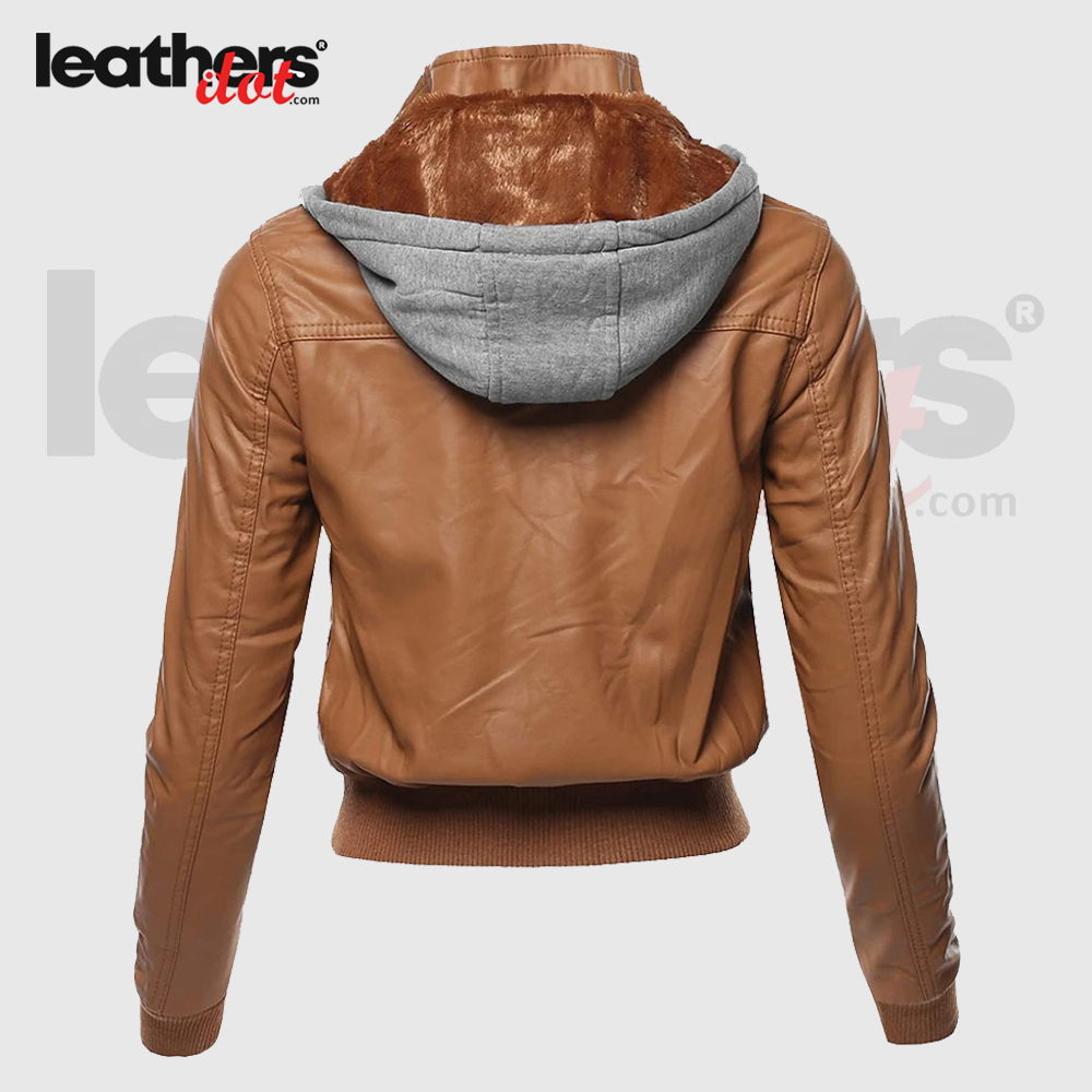 Women Leather Bomber Brown Jacket With Detachable Fur hoodie