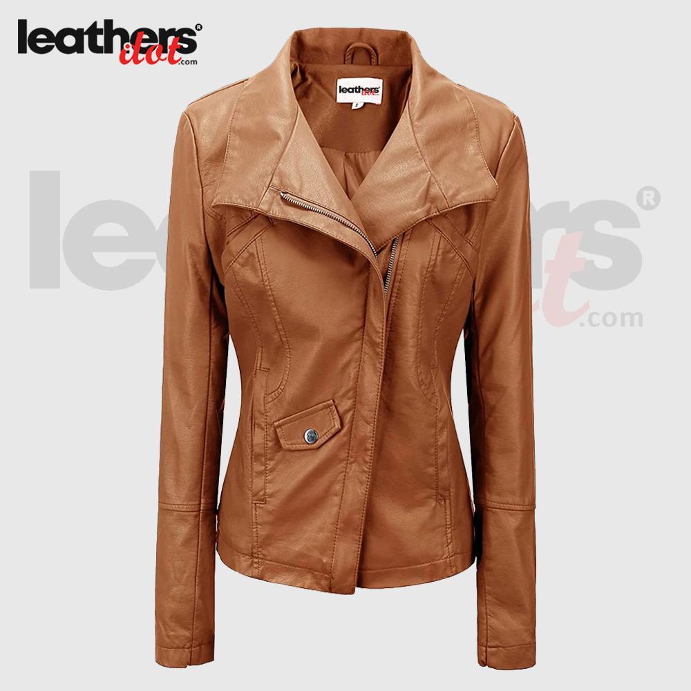 Women Pu Lambskin Stylish Biker Fashion Leather Brown Jacket