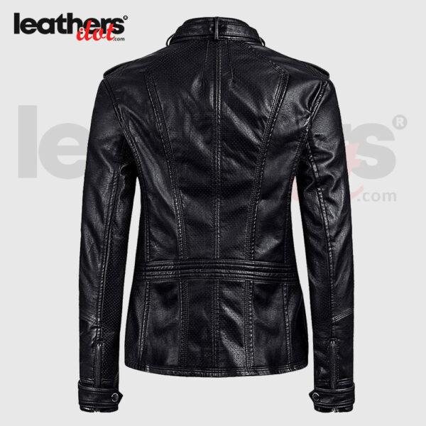 Womens Vegan Leather Bomber Fashion Motorcycle Black Jacket