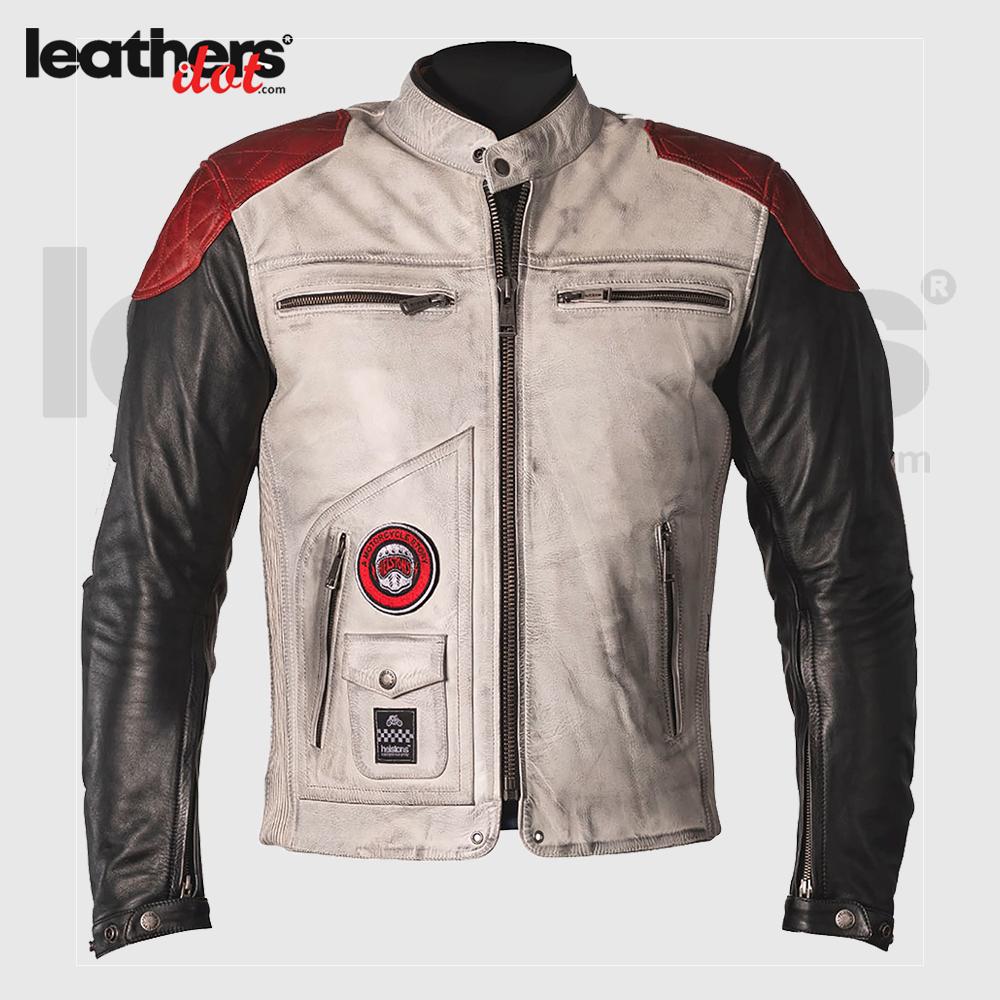 Waterproof Helstons Tracker Motorcycle Cowhide Leather Jacket