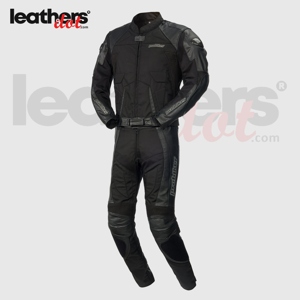Black-Highly-Protective-2-Piece-Leather-Probiker-Motorcycle-Suit