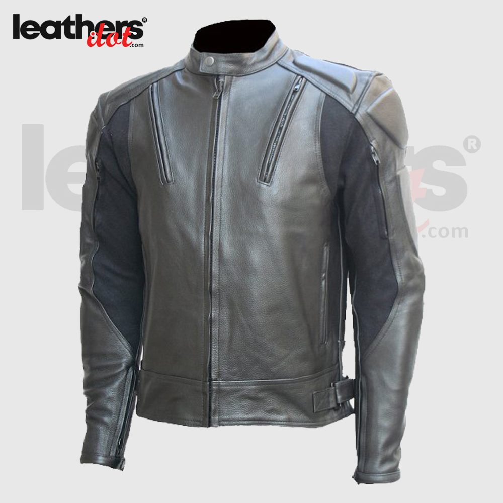 CE approved Padding Men Motorcycle Black Riding Leather Jacket