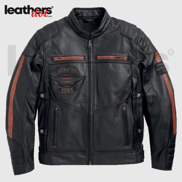 Harley Davidson Exmoor Reflective Wing Motorcycle Real Leather Jacket
