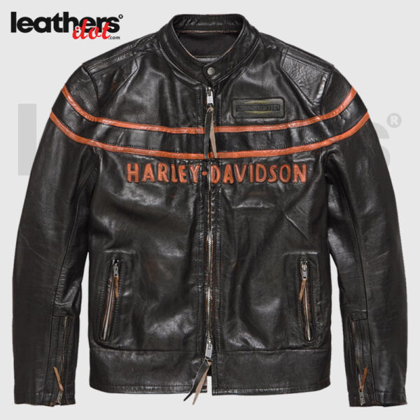 Harley Davidson Motorcycle Men Double Ton Slim Fit Leather Jacket