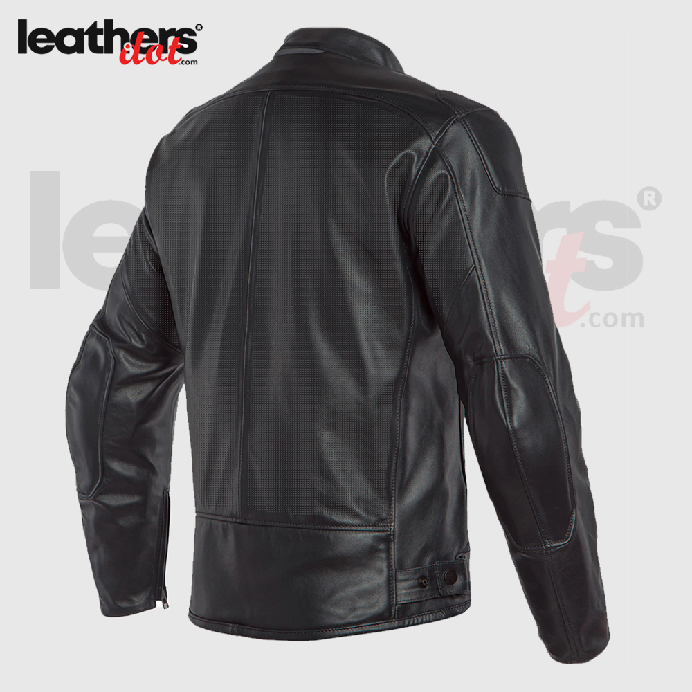 New Protective Dainese Black Motorcycle Riding Leather Jacket