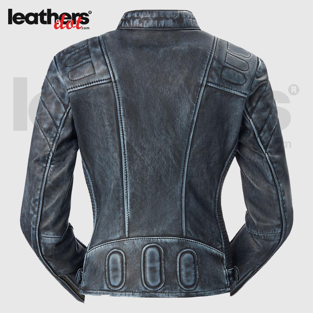 Vintage Look Cafe Racer Women Motorcycle Leather Jacket