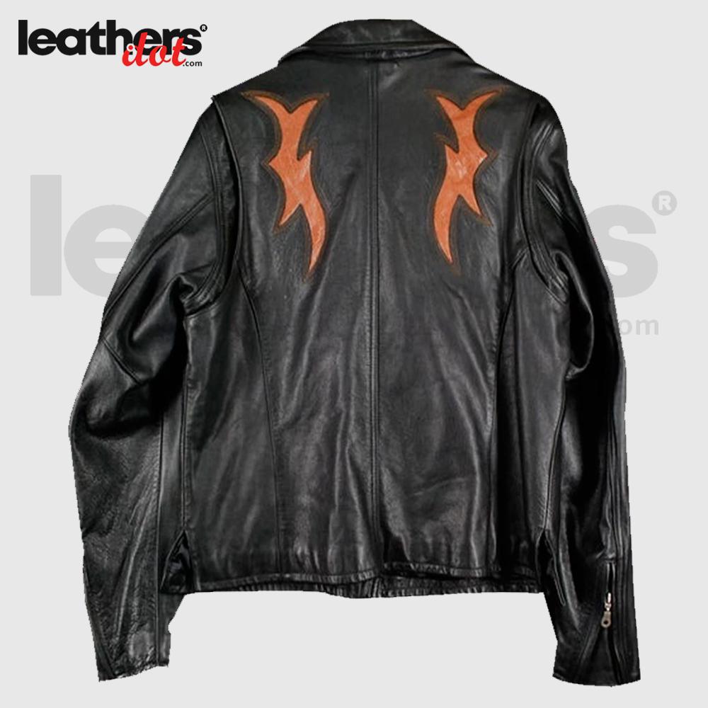 Black-&-Orange-Rare-Harley-Davidson-Biker-Leather-Jacket-For-Women's