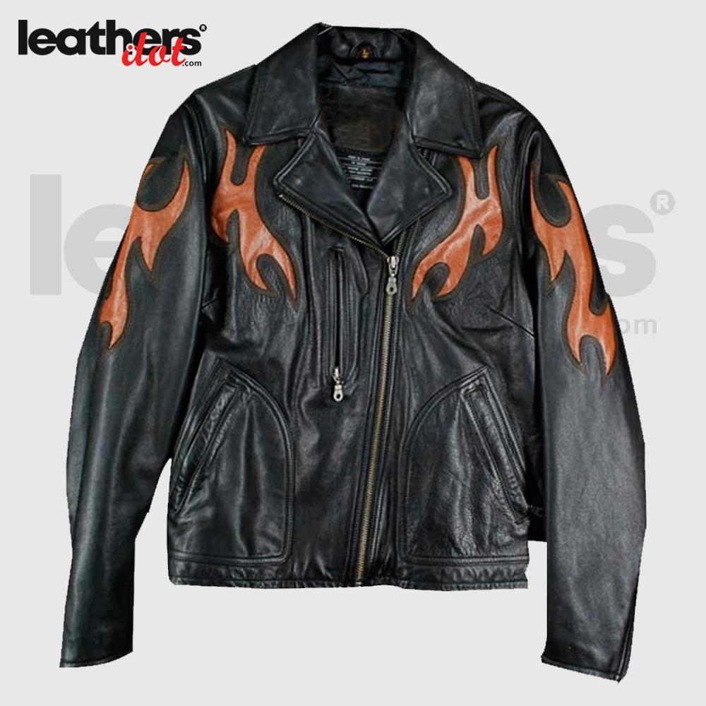 Black-&-Orange-Rare-Harley-Davidson-Biker-Leather-Jacket-For-Women's1