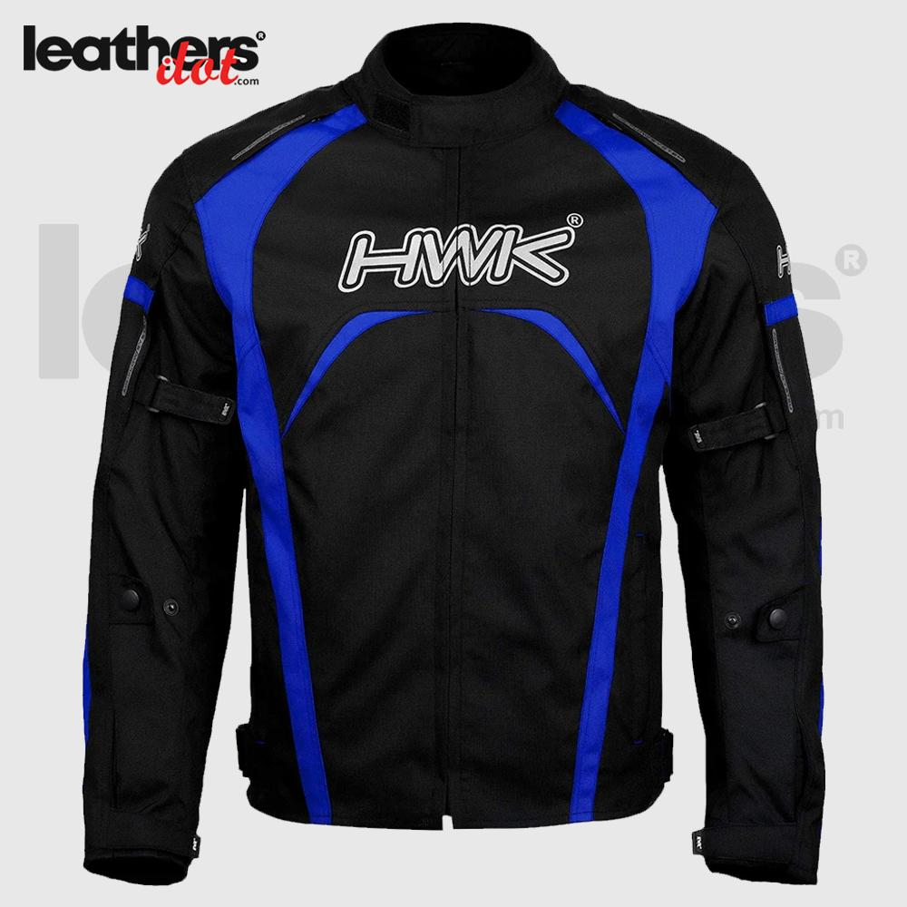 Blue Motorcycle Men HWK Textile Racing High-Visible CE Armored Jacket