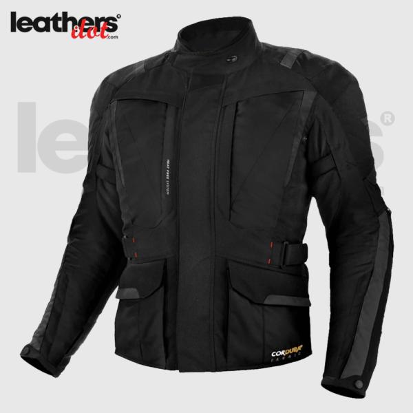 Mens Cordura Fabric Touring Motorcycle Black Jacket