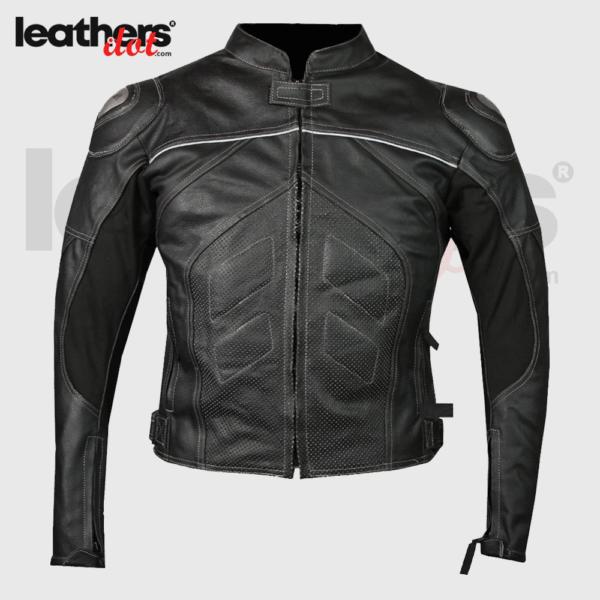 Mens Cruiser Black Motorcycle cowhide Leather Jacket
