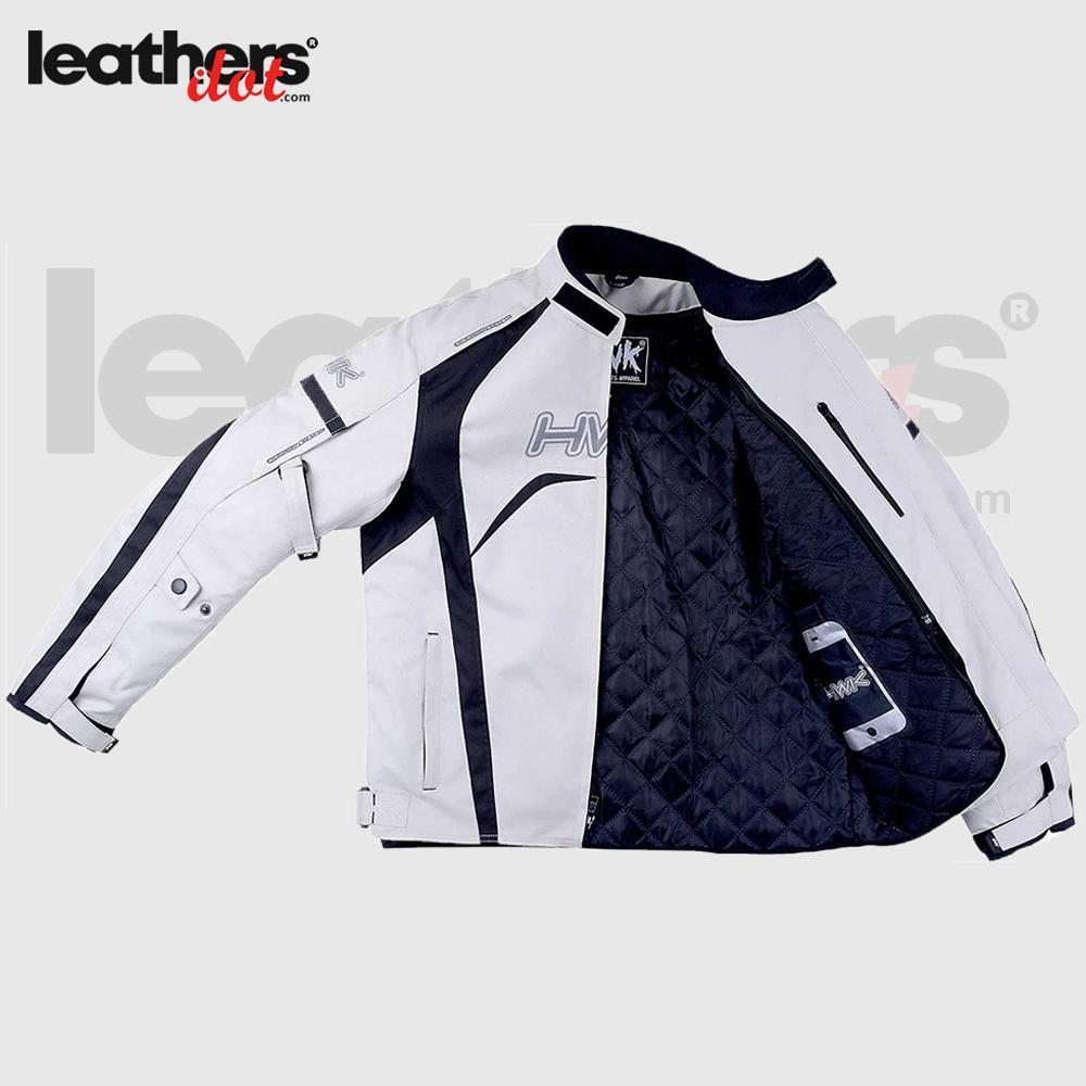 White Textile Racing Motorbike Hi-Vis CE Armored Waterproof Jackets