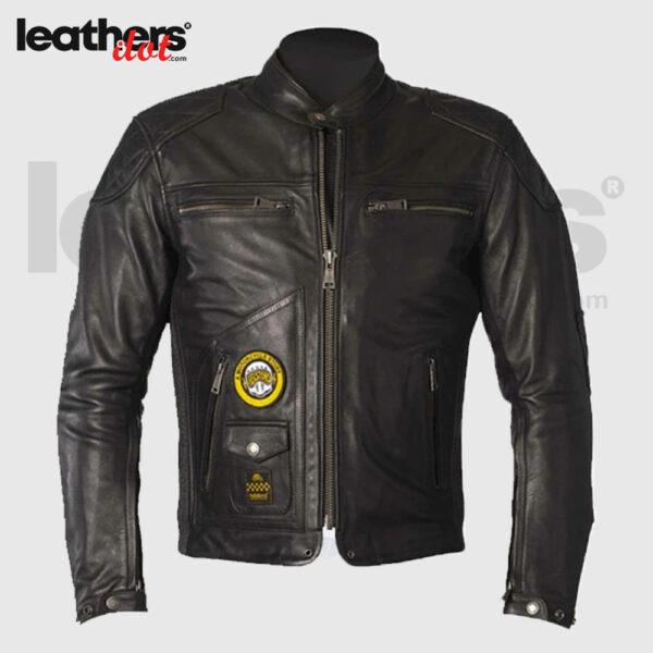 Black Helstons Tracker Motorbike Leather Jacket With Armour
