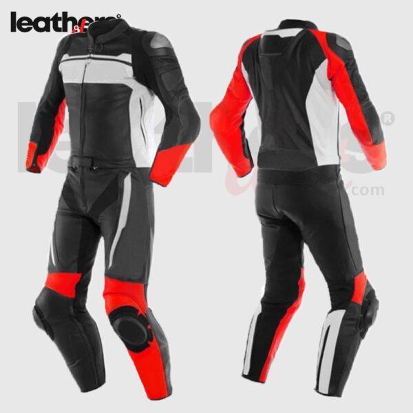 Custom Black Red Motorbike Leather Racing Suit
