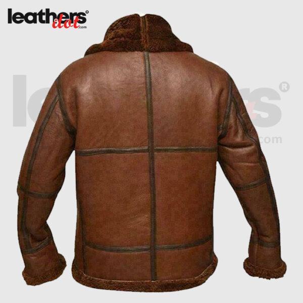 Men Aviator Bomber Leather Jackets With Darker Brown Straps