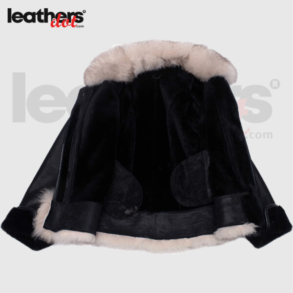 New Women Black Shearling Sheepskin Jacket with Fox fur trim