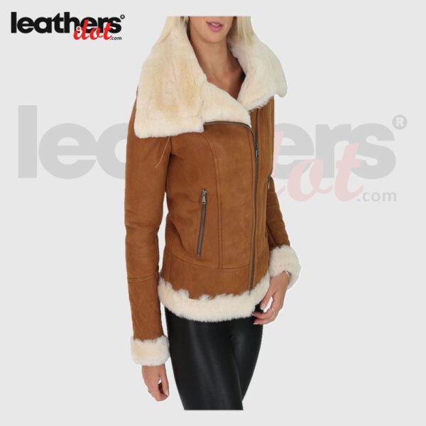 Women Tan Shearling Leather Jacket