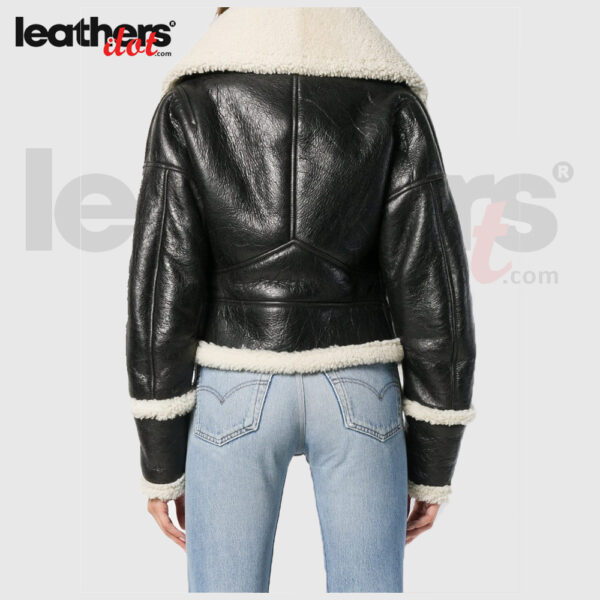 Black Shearling Wide Collar Leather Jacket For Women
