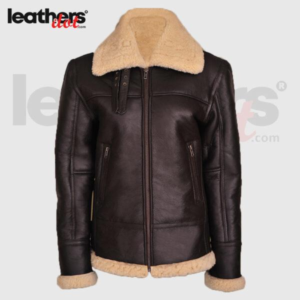 Brown Women B3 Bomber Shearling Aviator Real leather Jacket
