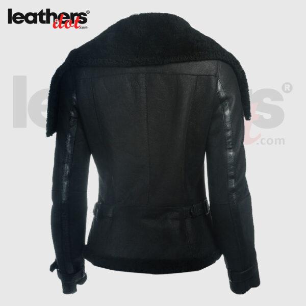 Pure leather Women Sheepskin Oversized Collar Black Jacket