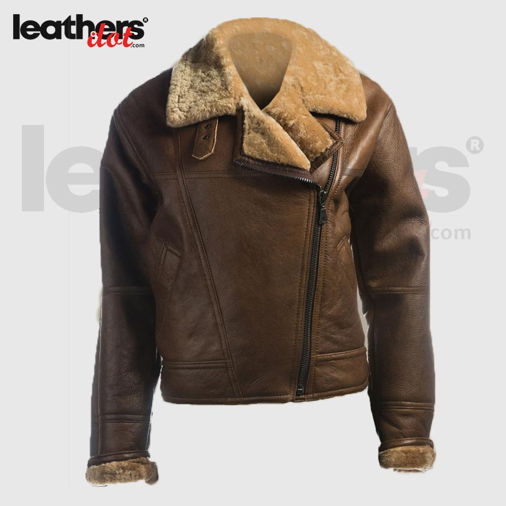 Women Brown B3 Bomber Shearling Aviator Real Leather Jacket