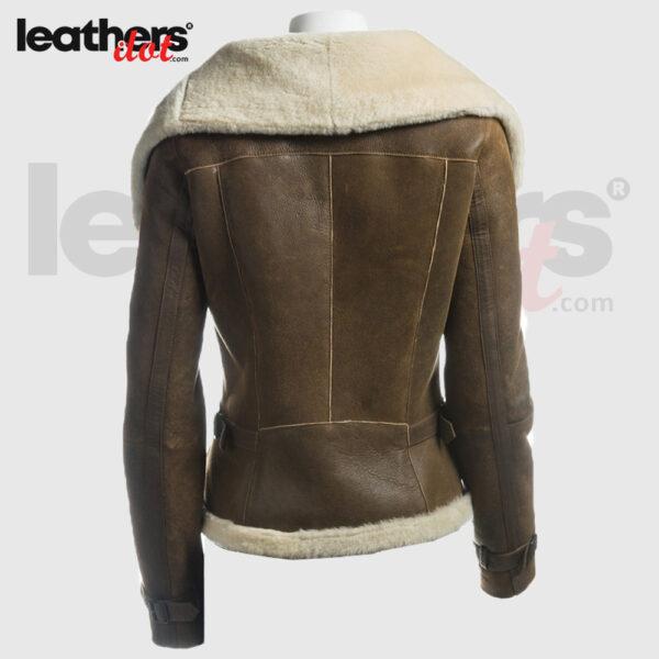 Women Oversized Fur Layered Collar Genuine Leather Brown Jacket