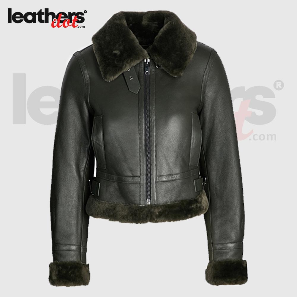 Women Soft Fur Lining Black Shearling Bomber Leather Jacket
