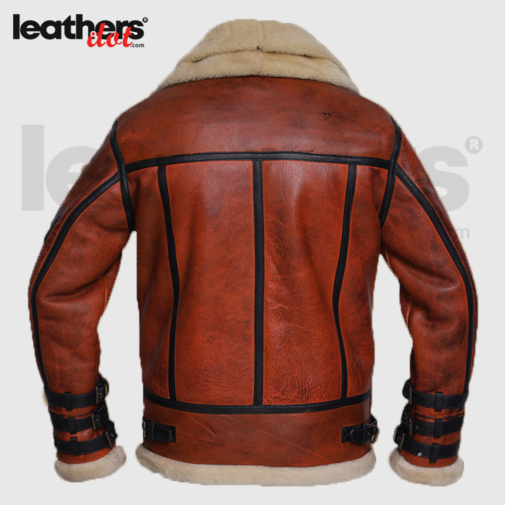 World War II Women Distressed Brown Shearling Leather Jacket